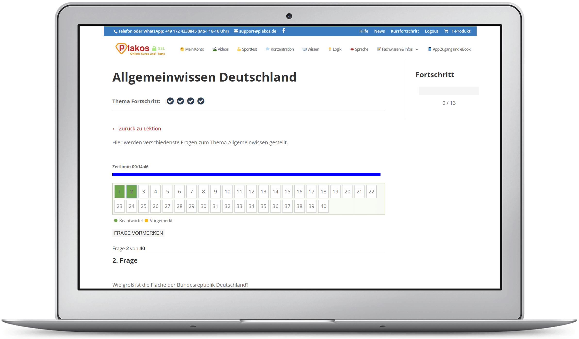 Über 2087 Aufgaben: Sprache, Wissen, Logik, etc.